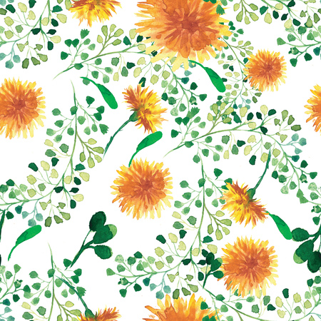 fluff: Beautiful nature background seamless pattern white with black flower dandelion fluff. Floral seamless pattern with summer or spring flowers. Stylish trendy wallpaper. Stock Photo