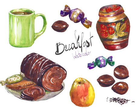 A set of candy-painted with watercolors on white background.  cakes rolls cupcakes cookies chocolate nuts mug.
