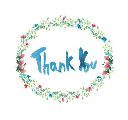 手の花、枝や葉の描画楕円形フレーム。水彩イラスト。結婚式招待状、グリーティング カード、カードのデザイン。