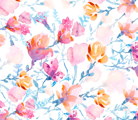 gently blue: Colorful flowers, watercolor illustration.  bouquet  flowers drawn with watercolor