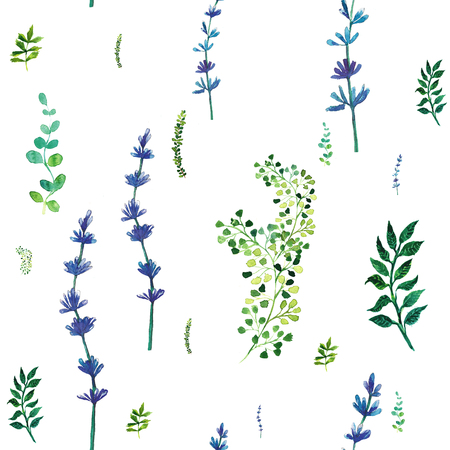 field flowers: Beautiful nature background seamless pattern with herbs and leaves.. Floral seamless pattern with summer or spring herbs and leaves.. Stylish trendy wallpaper.