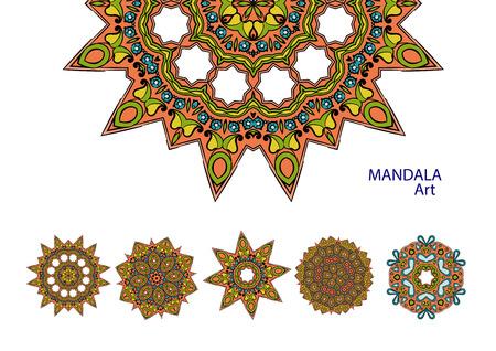 Set of colorful mandalas. Decorative round ornaments. Yoga  , backgrounds for meditation poster.