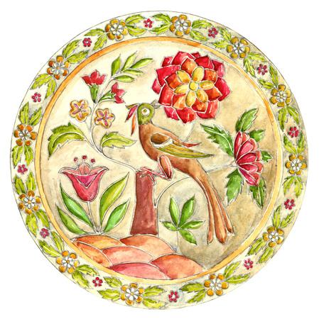 Fabulous bird. Decorative plate. Russian painted ornamental decor. Gzhel elements Stock Photo