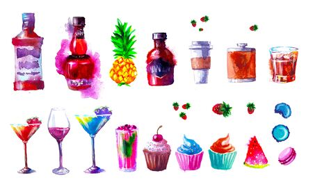 Set of creative alcohol and sweets list. watercolor Stock Photo