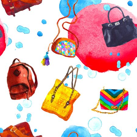 handbags: Awesome Watercolor seamless pattern with women handbags. illustration Stock Photo