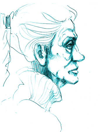 Hand-drawn picture. Pencil technique. Face of an old woman. Stock Photo