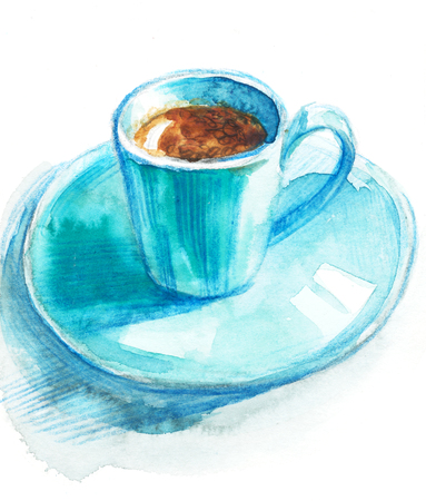 Coffee cup painted with watercolors on white background.