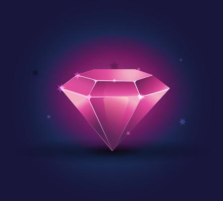 Colorful shiny bright crystals ruby diamond