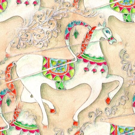 chariot: Seamless pattern with Hand drawn vintage horse cab, watercolor illustration Stock Photo