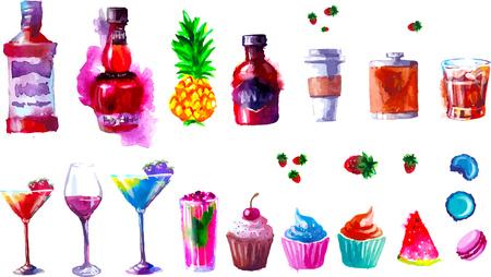 創造的なアルコールやお菓子一覧のセットです。水彩