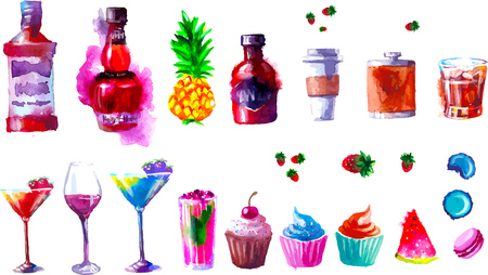 Set of creative alcohol and sweets list. watercolor 向量圖像