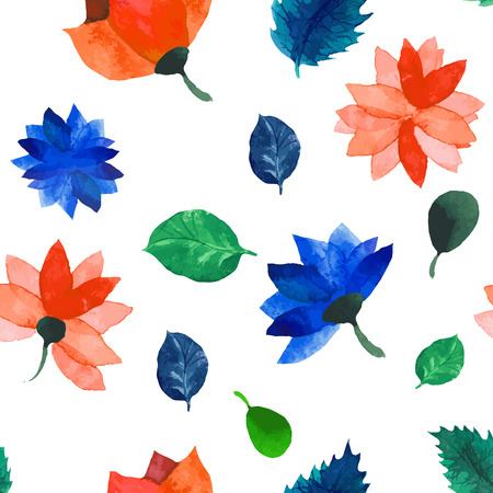 Vector Watercolor seamless floral pattern. Flowers texture.