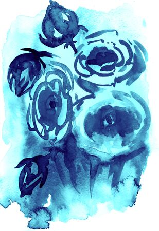 Watercolor and ink illustration of blossom flowers. Sumi-e, u-sin painting.
