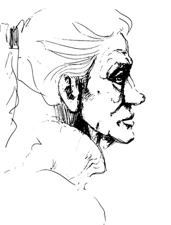 Hand-drawn picture. Pencil technique. Face of an old woman. Illustration