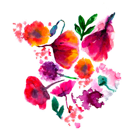 Background with poppy, cornflowers, lily , camomile, roses and ladybird on white. Hand drawn Stock Photo
