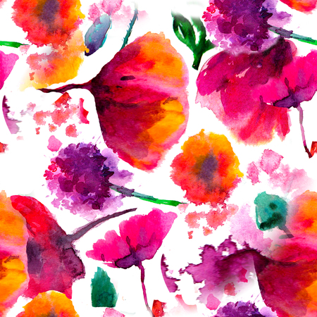 Seamless background pattern poppy, cornflowers, lily , camomile, roses with leaves and ladybird on white. Hand drawn