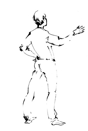 Creativity literature poet . A man stands with his back and tells something. Politician leader or lawyer Stock Photo