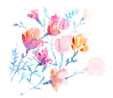 gently: Colorful flowers, watercolor illustration.  bouquet  flowers drawn with watercolor
