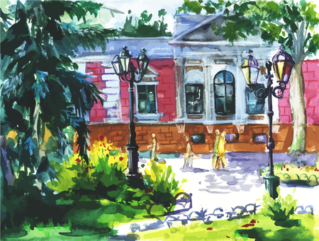A Vector watercolor landscape of Odessa, Ukraine, scenery town on watercolor paper texture background. Illustration