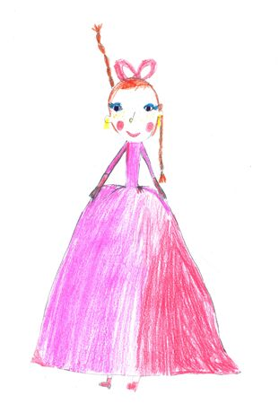 Hand drawn girl in naive style. Cute Childs drawing of mother or princess