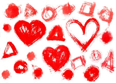 ink stain: Stamp printed watercolour hearts spot and Circles background
