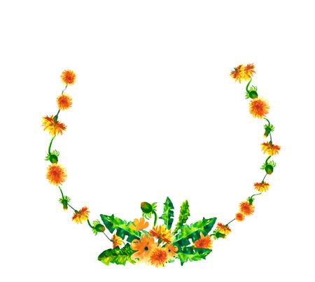 水彩花春黄色のタンポポと丸い花輪、自然な手彩色花水彩花の図は、白で隔離