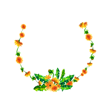 Watercolor floral spring round wreath with yellow dandelions, Natural hand painted floral watercolor flower illustration isolated on white