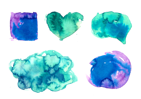 violet red: Rainbow colors watercolor paint stains backgrounds Stock Photo