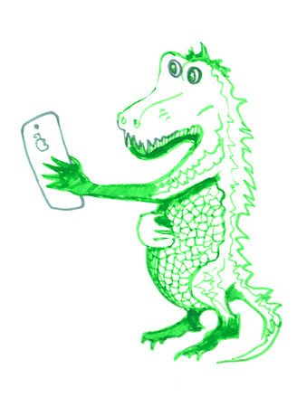 crocodile making selfy. Isolated sketch on white background. Reptiles. Hand drawings of crocodiles