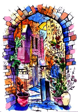 Hand drawn of Jaffa in Israel . Watercolor sketch illustration . Illustration of city street. Watercolor Art .