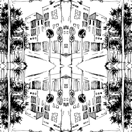 Abstract Ink Seamless pattern with andscape. Travel Background. Castle building. Hand drawn sketch illustration.