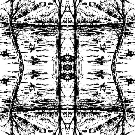 Ink Seamless pattern with lake Landscape. Travel Background. Hand drawn sketch illustration. 写真素材