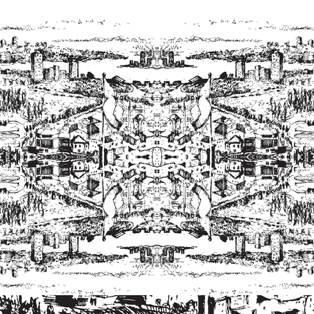 Ink Seamless pattern with street and buildings. Landscape. Travel Background. Street buildings. Hand drawn sketch illustration.