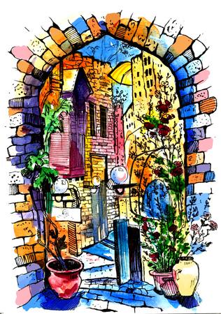 Hand drawn of Old Street . Watercolor sketch illustration . Illustration of city street. Watercolor Art . 写真素材