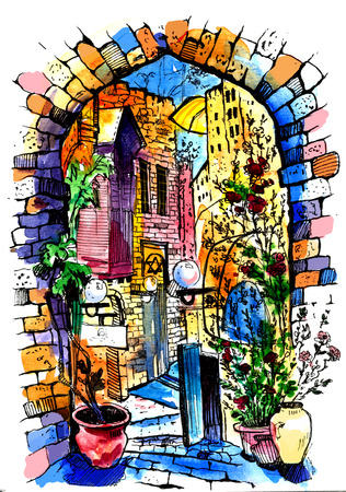 Hand drawn of Jaffa in Israel . Watercolor sketch illustration . Illustration of city street. Watercolor Art . 写真素材