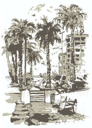 vector Downtown with street and buildings of Miami City in Florida. Watercolor splash with hand drawn sketch illustration in. retro silhouettes of palm trees.  イラスト・ベクター素材