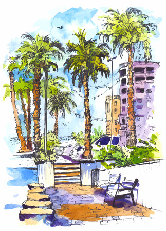 vector Downtown with street and buildings of Miami City in Florida. Watercolor splash with hand drawn sketch illustration. retro colorful watercolor silhouettes of palm trees.