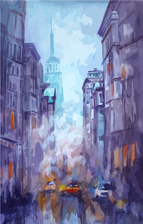 Watercolor painted New york street with night club shops taxi cabs and all different stuff during night life Illustration