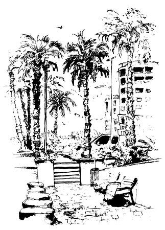 vector Downtown with street and buildings of Miami City in Florida. ink splash with hand drawn sketch illustration in. retro silhouettes of palm trees.