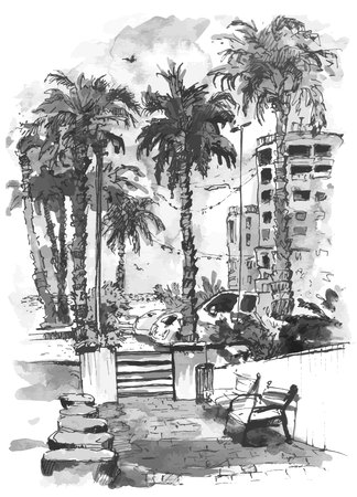 vector Downtown with street and buildings of Miami City in Florida. Watercolor splash with hand drawn sketch illustration in. retro silhouettes of palm trees. Illustration