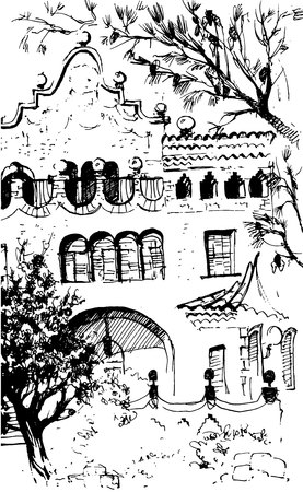 City view urban scene. Black and white dashed style sketch, line art, drawing with pen and ink. Western classical trend of book illustration and comic art.  イラスト・ベクター素材