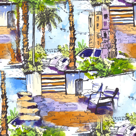 vector Seamless pattern. Downtown with street and buildings of Miami City in Florida, USA. Watercolor splash with hand drawn sketch illustration. retro colorful watercolor silhouettes of palm trees.