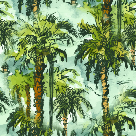 Vector Seamless patternwith tropical palm trees.. Watercolor splash with hand drawn sketch illustration. retro colorful Illustration