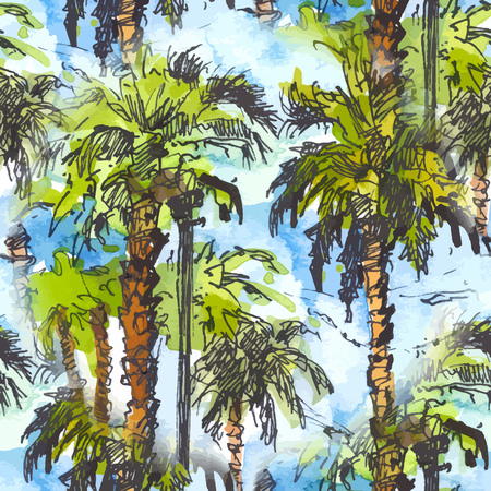 Vector Seamless patternwith tropical palm trees.. Watercolor splash with hand drawn sketch illustration. retro colorful 向量圖像