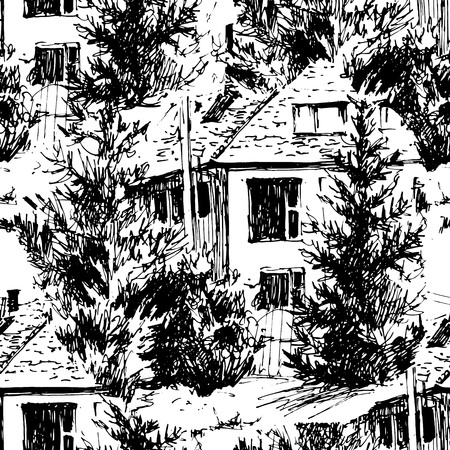 Vector hand painted seamless pattern. Urban landscapes in hand drawn ink line style. Old city street sketch on white background. illustration  イラスト・ベクター素材