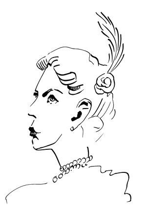 girl, retro women of twenties. Vector illustration.