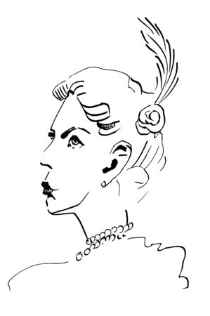 girl, retro women of twenties. Ink illustration.