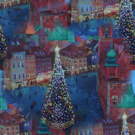 seamless pattern Beautiful winter urban landscape old csquare and walking people . Europe. Oil painting on canvas.