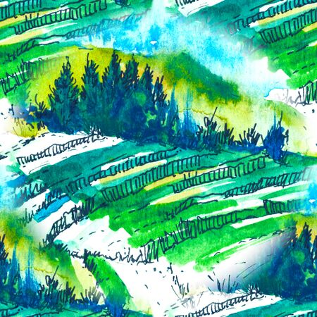 seamless pattern Watercolor landscape with hills, forest and field in green tones. Clear sunny day.