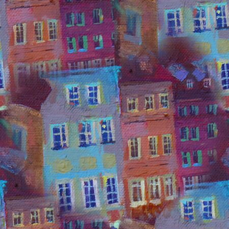 seamless abstract pattern Beautiful winter urban landscape old csquare and walking people . Europe. Oil painting on canvas.